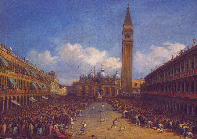 Michele Marieschi (1696–1743), The Procession in St. Mark`s Square in Venice (c 1740), oil on canvas, dimensions not known, State Museum of Arts of Uzbekistan, Tashkent, Uzbekistan. Wikimedia Commons.