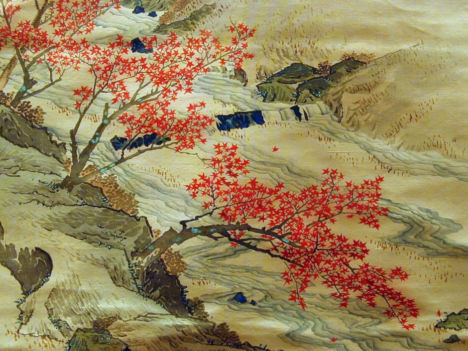 Maruyama Ōkyo (円山 応挙 or 圓山 應舉), The Journey of Narihira to the East (Edo, 1780), ink and colours on silk, dimensions not known, Musée National des Arts Asiatiques - Guimet, Paris. By Jean-Pierre Dalbéra from Paris, France, via Wikimedia Commons.
