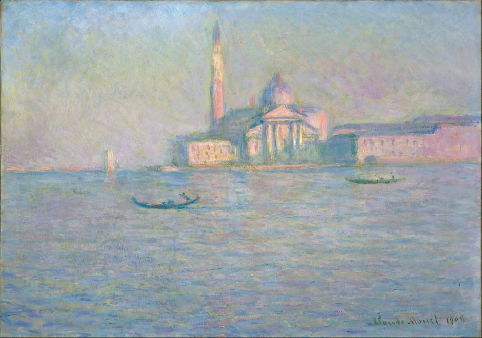 Claude Monet, The Church of San Giorgio Maggiore, Venice (1908), oil on canvas, 64.8 x 92.1 cm, Indianapolis Museum of Art, . Wikimedia Commons.