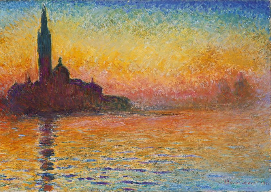 Claude Monet (1840–1926), San Giorgio Maggiore at Dusk (1908), oil on canvas, 65.2 × 92.4 cm, National Museum, Cardiff, Wales. Wikimedia Commons.