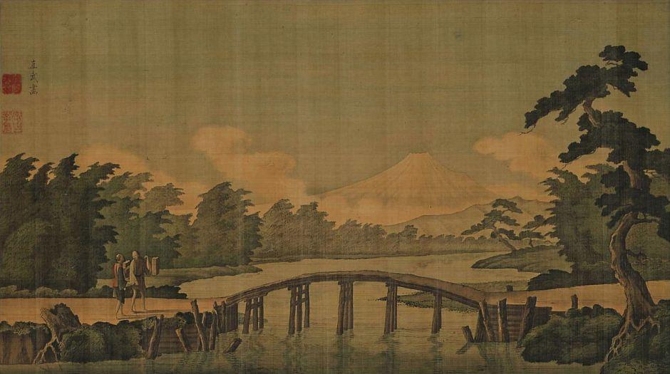Odano Naotake (小田野直武) (1749-80), Mount Fuji (Edo, 1770s), colours on silk, 43.5 x 77 cm, Akita Museum of Modern Art, Yokote, Akita. Wikimedia Commons.