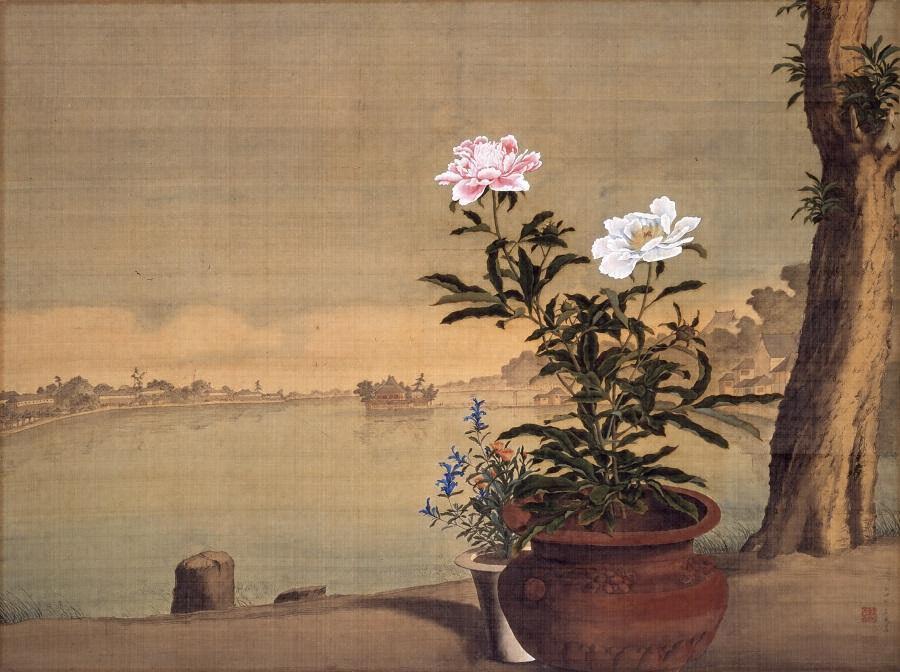 Odano Naotake (小田野直武) (1749-80), Shinobazu Pond (不忍池) (Edo, 1770s), colour on silk, 98.5 × 132.5 cm, Akita Museum of Modern Art, Yokote, Akita. Wikimedia Commons.