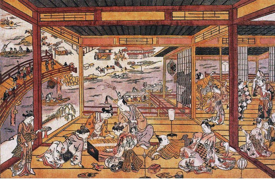 Okumura Masanobu (奥村 政信) (1686-1764), Taking the Evening Cool by Ryōgoku Bridge (Edo, 1745), Shibai uki-e. Wikimedia Commons.