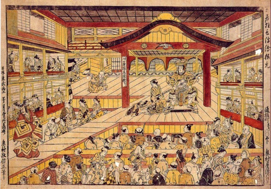 Okumura Masanobu (奥村 政信) (1686-1764), Kabuki theater Ichimura-za in its early days (Edo, 1740s), Shibai uki-e. Wikimedia Commons.