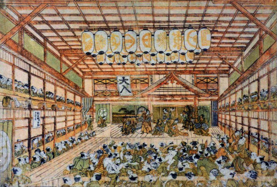 Okumura Masanobu (奥村 政信) (1686-1764), Kabuki theater Morita-za in its early days (Edo, c 1745), Shibai uki-e. Wikimedia Commons.