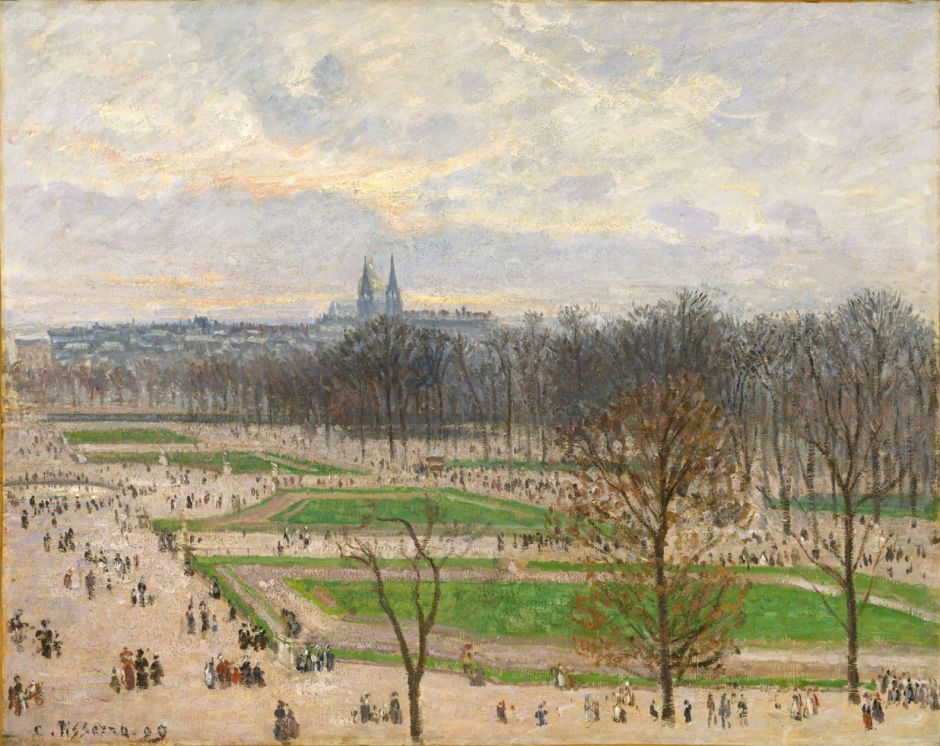 Camille Pissarro (1830–1903), The Garden of the Tuileries on a Winter Afternoon (1899), oil on canvas, 73.7 × 92.1 cm, The Metropolitan Museum of Art, New York, NY. Wikimedia Commons.