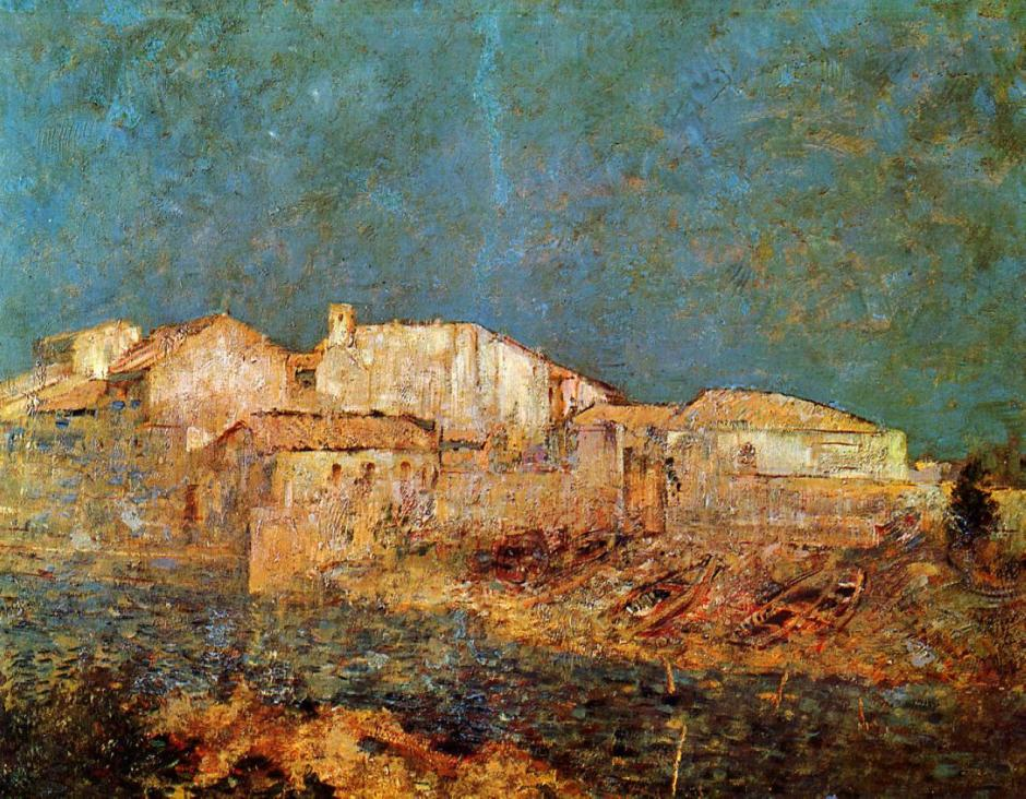 Odilon Redon (1840-1916), Venetian Landscape, or Fishing District in Venice (c 1908), oil on canvas, 52 x 67 cm, Musée des Beaux Arts, Bordeaux. WikiArt.