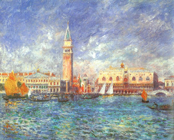 Pierre-Auguste Renoir (1841-1919), Doge's Palace, Venice (1881), oil on canvas, 54.5 x 65 cm, Clark Art Institute, Williamstown, MA. Wikimedia Commons.