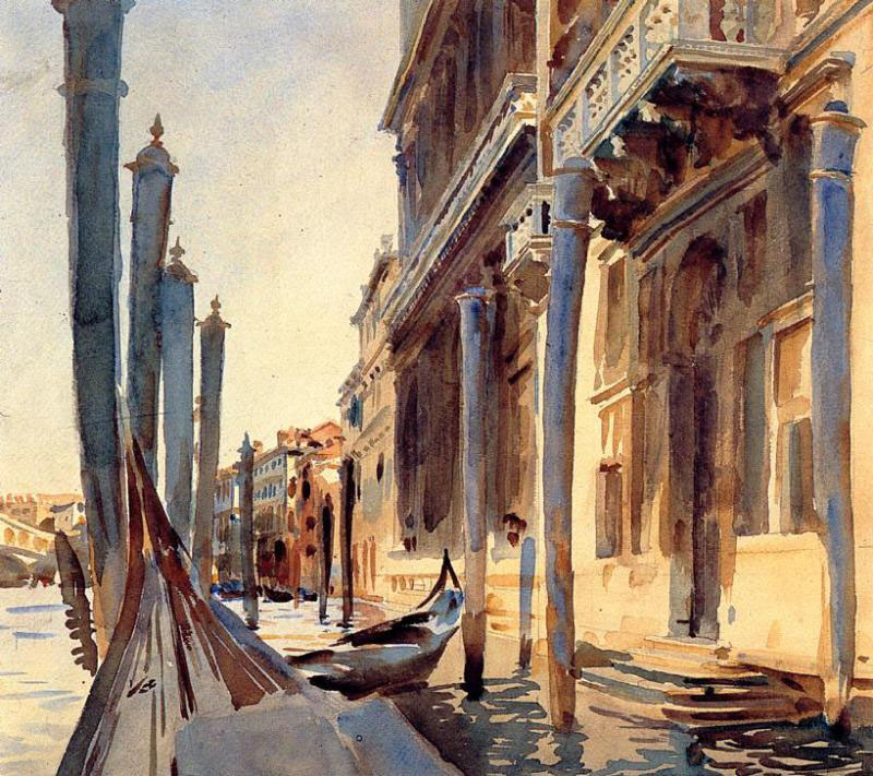John Singer Sargent (1856-1925), Grand Canal, Venice (1907), watercolour on paper, 40.6 x 45.4 cm, The National Gallery of Art, Washingon, DC. WikiArt.