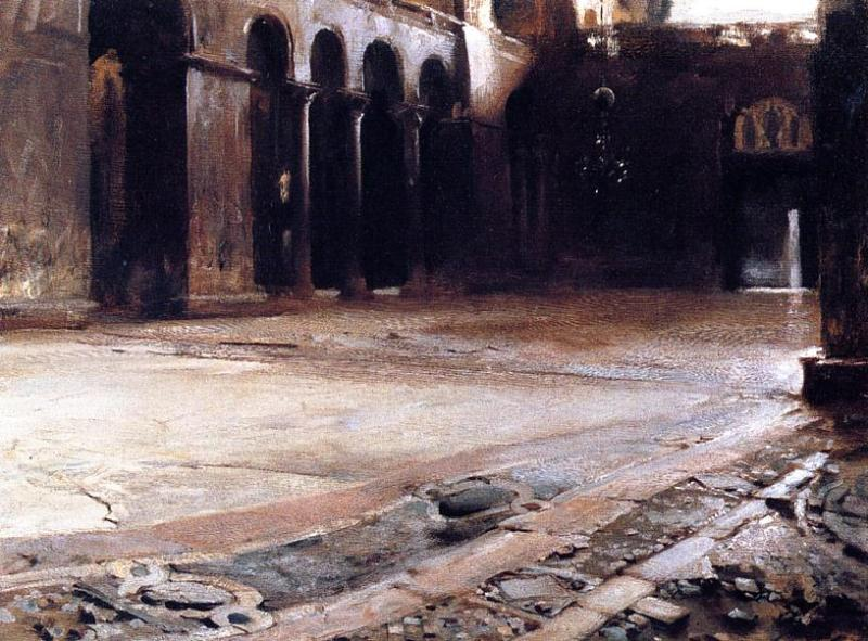 John Singer Sargent, The Pavement of Saint Mark's (1898), oil on board, 53.34 x 72.39 cm, Private collection. WikiArt.