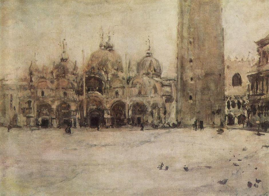 Valentin Serov (1865-1911), Saint Mark's Square in Venice (study) (1887), oil on canvas, 22 x 31 cm, Tretyakov Gallery, Moscow. WikiArt.