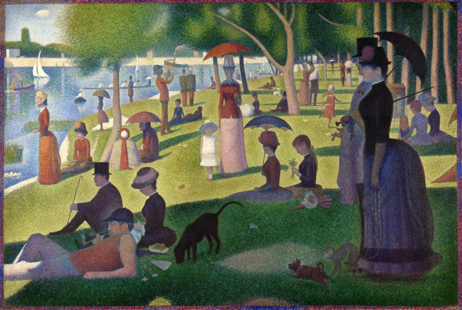 Georges Seurat, Un dimanche après-midi à l'Île de la Grande Jatte (A Sunday Afternoon on the Island of La Grande Jatte) (1884-6), oil on canvas, 207.5 × 308.1 cm, Art Institute of Chicago, Chicago, IL. Wikimedia Commons.