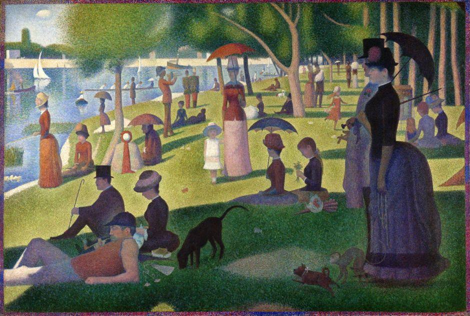 Georges Seurat, Un dimanche après-midi à l'Île de la Grande Jatte (A Sunday Afternoon on the Island of La Grande Jatte) (1884-6), oil on canvas, 207.5 × 308.1 cm, Art Institute of Chicago, Chicago, IL. Wikimedia Commons.