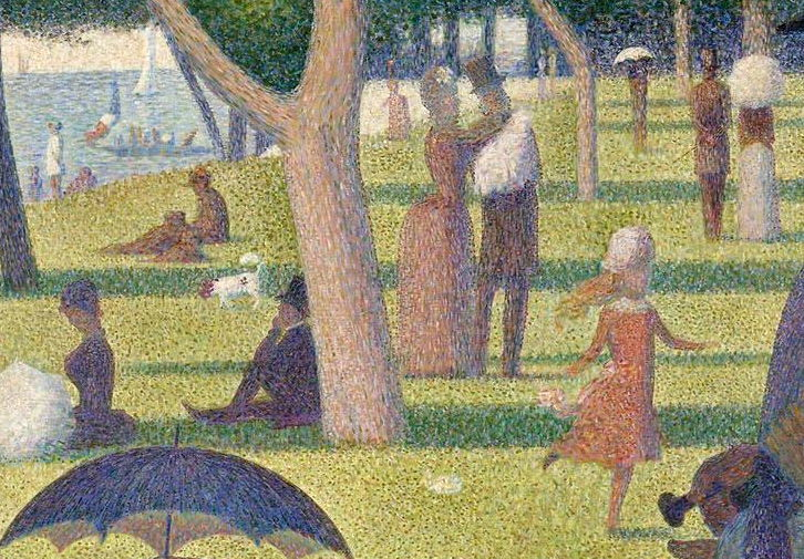 Georges Seurat, Un dimanche après-midi à l'Île de la Grande Jatte (A Sunday Afternoon on the Island of La Grande Jatte) (detail) (1884-6), oil on canvas, 207.5 × 308.1 cm, Art Institute of Chicago, Chicago, IL. Wikimedia Commons.