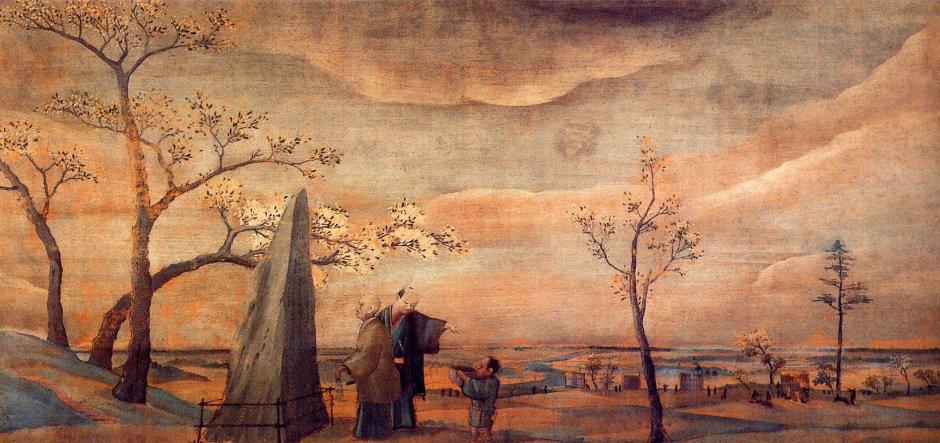 Shiba Kōkan (司馬 江漢) (1747-1818), Asukayama (Edo, c 1800), oil, 32 x 69 cm, Koriyama City Museum of Art, Fukushima. Wikimedia Commons.
