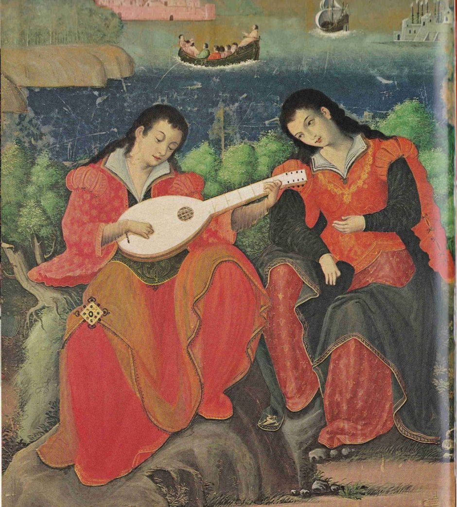 Anonymous, Westerners Playing Music (detail) (Momoyama, c 1600), colours on paper, six-fold screen, 93 x 302 cm, Eisei Bunko Museum, Tokyo. Wikimedia Commons.