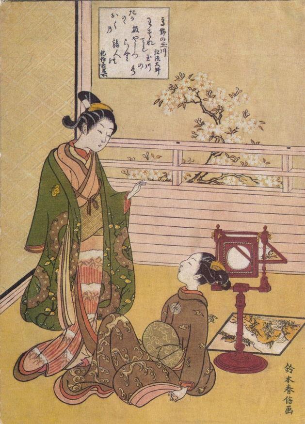Suzuki Harunobu (鈴木 春信) (1724–1770), Girls with a picture viewer (Edo, late 1760s), uki-e print. Wikimedia Commons.
