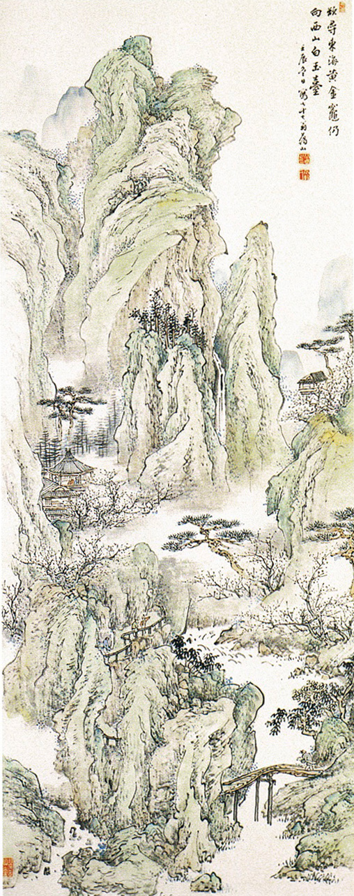 Taniguchi Aizan (谷口愛山), Landscape (Meiji, 1892), media not known, dimensions not known, location not known. By 谷口藹山 (図録「谷口藹山展」高岡市美術館 1996年), via Wikimedia Commons.
