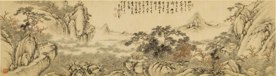 Tanomura Chokunyū, Great View of Mountain and River (Meji, 1896), ink and color on silk handscroll, dimensions not known, Honolulu Museum of Art. Wikimedia Commons.