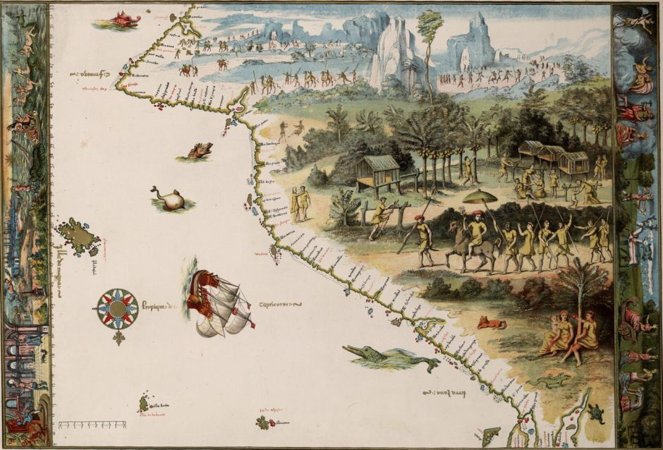 Nicholas Vallard (facsimile of) East Coast of Jave la Grande (1547), chromo-lithograph, 37.6 x 55.4 cm, National Library of Australia. Wikimedia Commons.