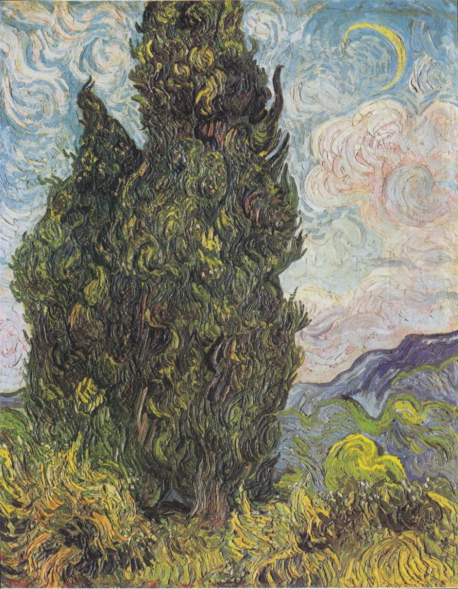 Vincent van Gogh, Cypresses (1889), oil on canvas, 93.4 x 74 cm, The Metropolitan Museum of Art, New York, NY. Wikimedia Commons.