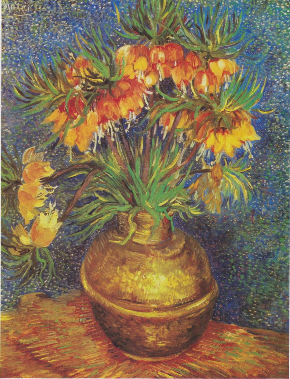 Vincent van Gogh, Imperial Crown Fritillaries in a Copper Vase (1887), oil on canvas, 73.3 x 60 cm, Musée d'Orsay, Paris. Wikimedia Commons.