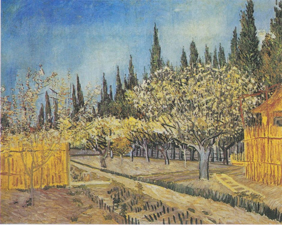 Vincent van Gogh, Orchard Bordered by Cypresses (1888), oil on canvas, 64.9 x 81.2 cm, Kröller-Müller Museum, Otterlo, the Netherlands. Wikimedia Commons.