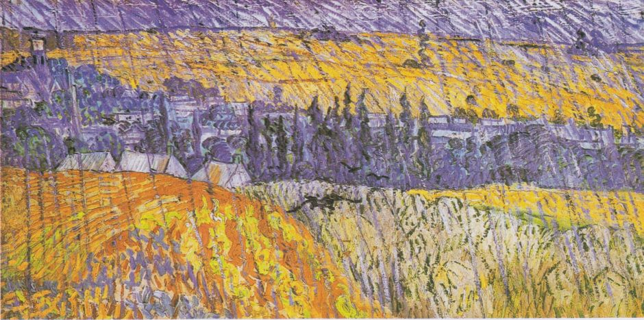 Vincent van Gogh, Rain - Auvers (1890), oil on canvas, 50.3 x 100.2 cm, National Museum of Wales, Cardiff. Wikimedia Commons.