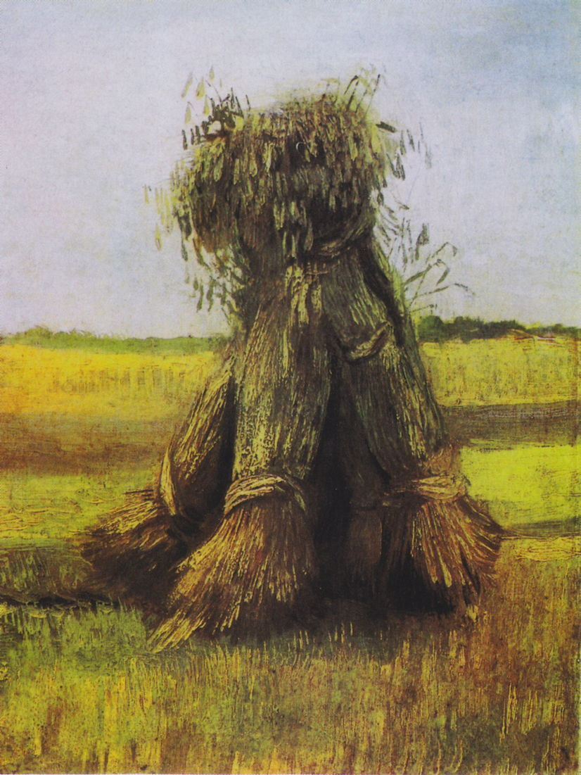 Vincent van Gogh, Sheaves of Wheat (1885), oil on canvas, 40.2 x 30 cm, Kröller-Müller Museum, Otterlo, the Netherlands. Wikimedia Commons.