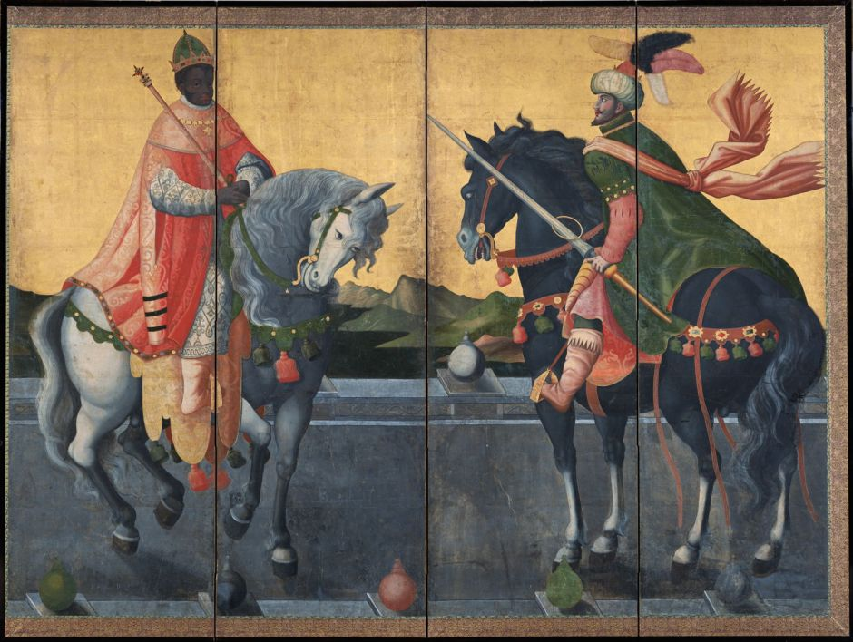 Kanō Sanraku (狩野 山楽) (attr) (1559-1635), Western Kings on Horseback (Momoyama, c 1600), colours on paper, four-fold screen, 184 x 145 cm, Suntory Museum of Art, Osaka. Wikimedia Commons.