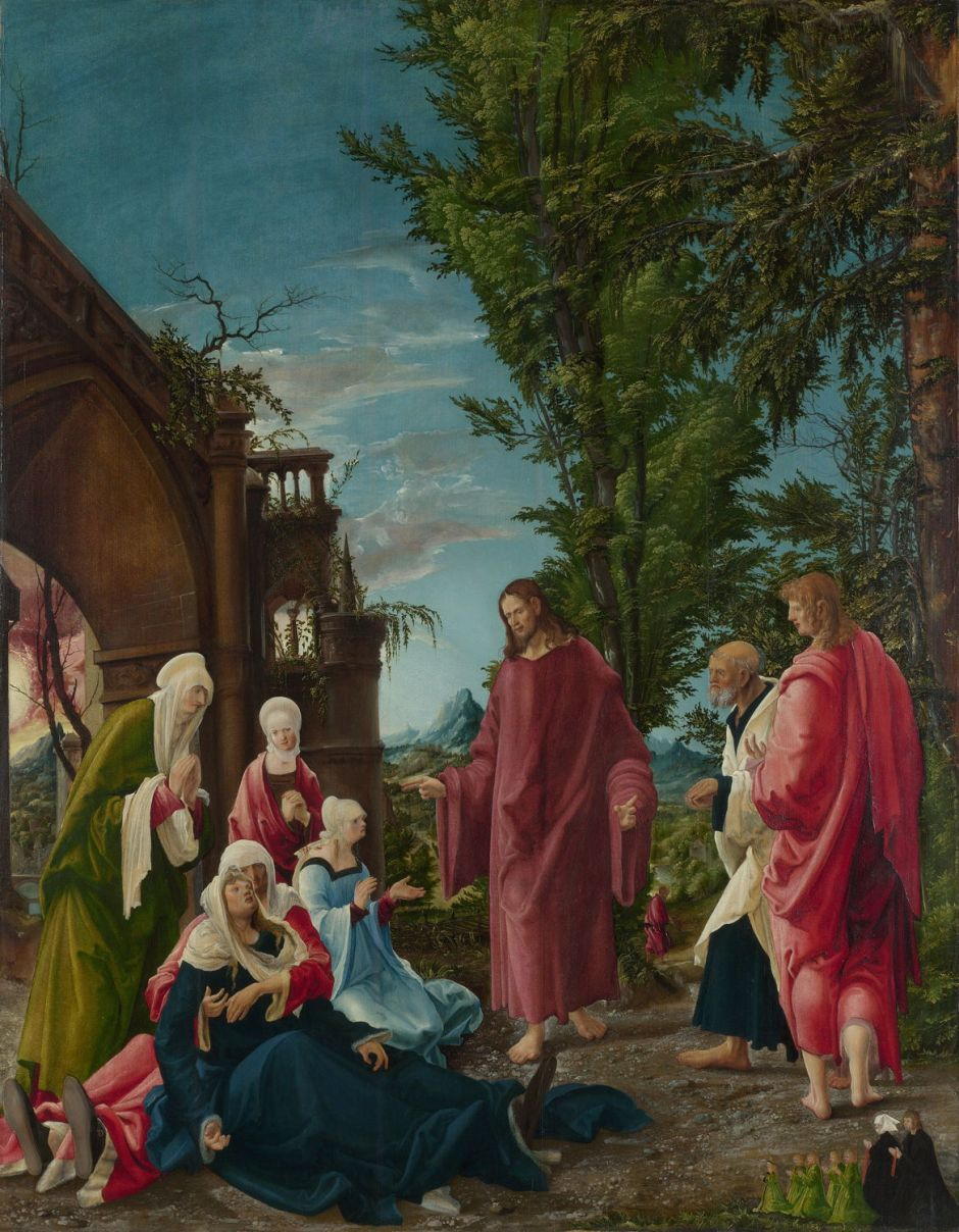 Albrecht Altdorfer (1480–1538), Christ taking leave of his Mother (c 1520), oil on lime, 141 x 111 cm, The National Gallery, London. Wikimedia Commons.