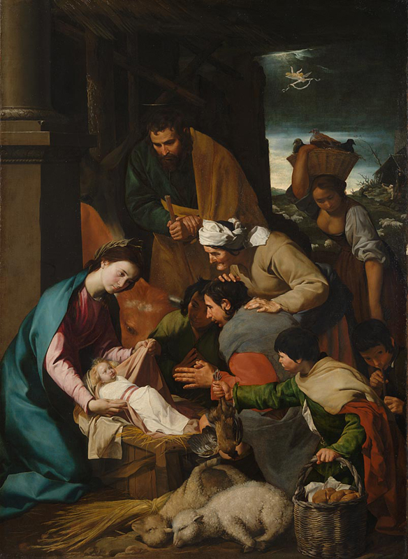 Anonymous (Italian, Neapolitan), The Adoration of the Shepherds (c 1630s), oil on canvas, 228 x 164.5 cm, The National Gallery, London. Courtesy of the National Gallery.