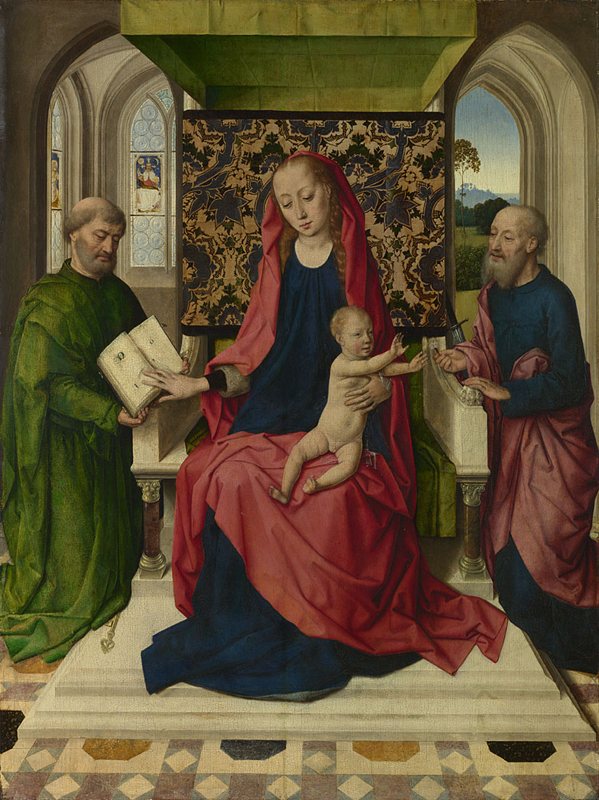Dirk Bouts (c 1400-75), workshop of, The Virgin and Child with Saint Peter and Saint Paul (c 1460s), oil on oak, 68.8 x 51.6 cm, The National Gallery, London. Courtesy of the National Gallery.