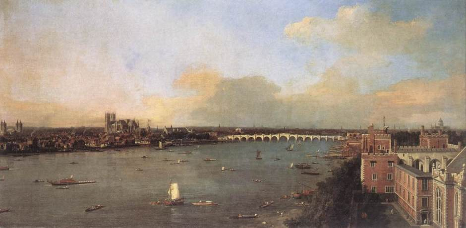 Canaletto (Giovanni Antonio Canal) (1697–1768), The River Thames looking towards Westminster from Lambeth (1747), oil on canvas, 118 x 238 cm, Lobkowicz Collections, Lobkowicz Palace, Prague. Wikimedia Commons.