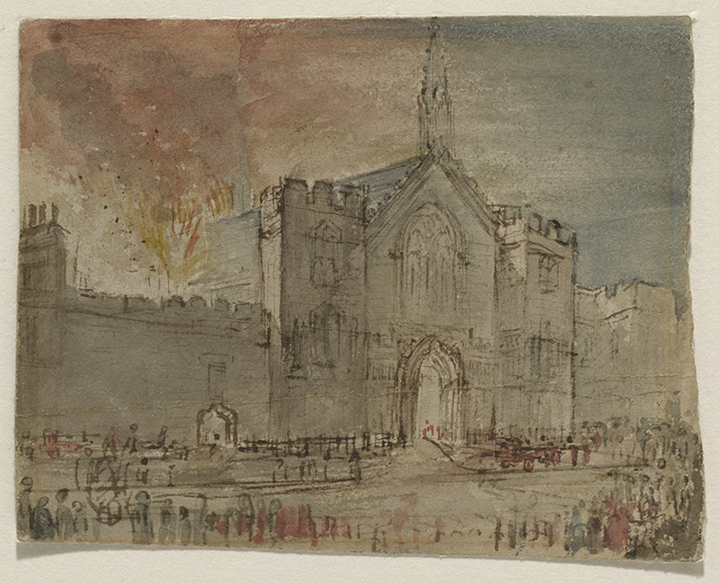 John Constable (1776-1837), Fire Sketch by John Constable, drawn on 16 October 1834, while the Old Palace of Westminster burned (1834), further details not known. Wikimedia Commons.