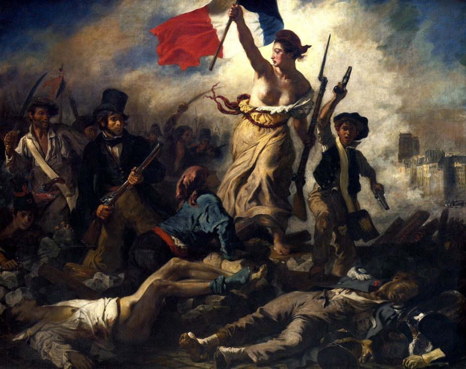 Eugène Delacroix (1798–1863), Liberty Leading the People (1830), oil on canvas, 260 x 325 cm, Musée du Louvre, Paris. Wikimedia Commons.