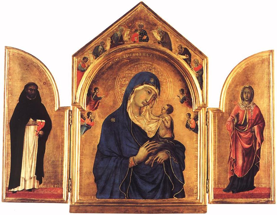 Duccio di Buoninsegna (1260–1318), Triptych (1300-5), tempera on wood, 61.5 x 78 cm, The National Gallery, London. Wikimedia Commons.