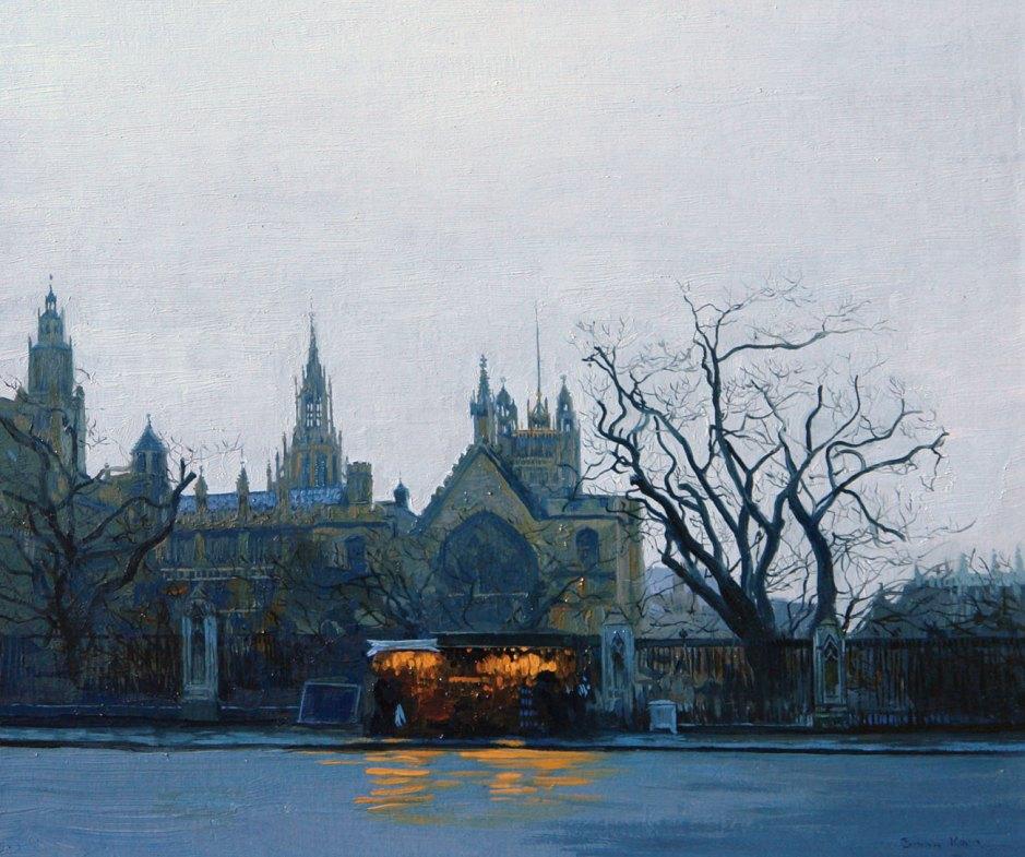 "Simon Kozhin (1979-), Rain (2006), oil on canvas on cardboard, 30 × 35 cm, Foundation ""Cultural Heritage "", St. Petersburg. Courtesy of Simon Kozhin, via Wikimedia Commons."