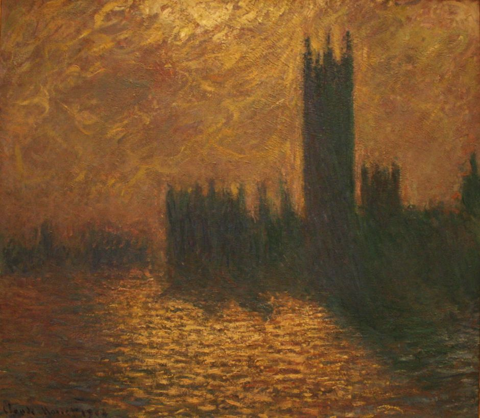 Claude Monet (1840–1926), The Houses of Parliament, Stormy Sky (1904), oil on canvas, 81.5 × 92 cm, Palais des Beaux-Arts de Lille, Lille. Wikimedia Commons.