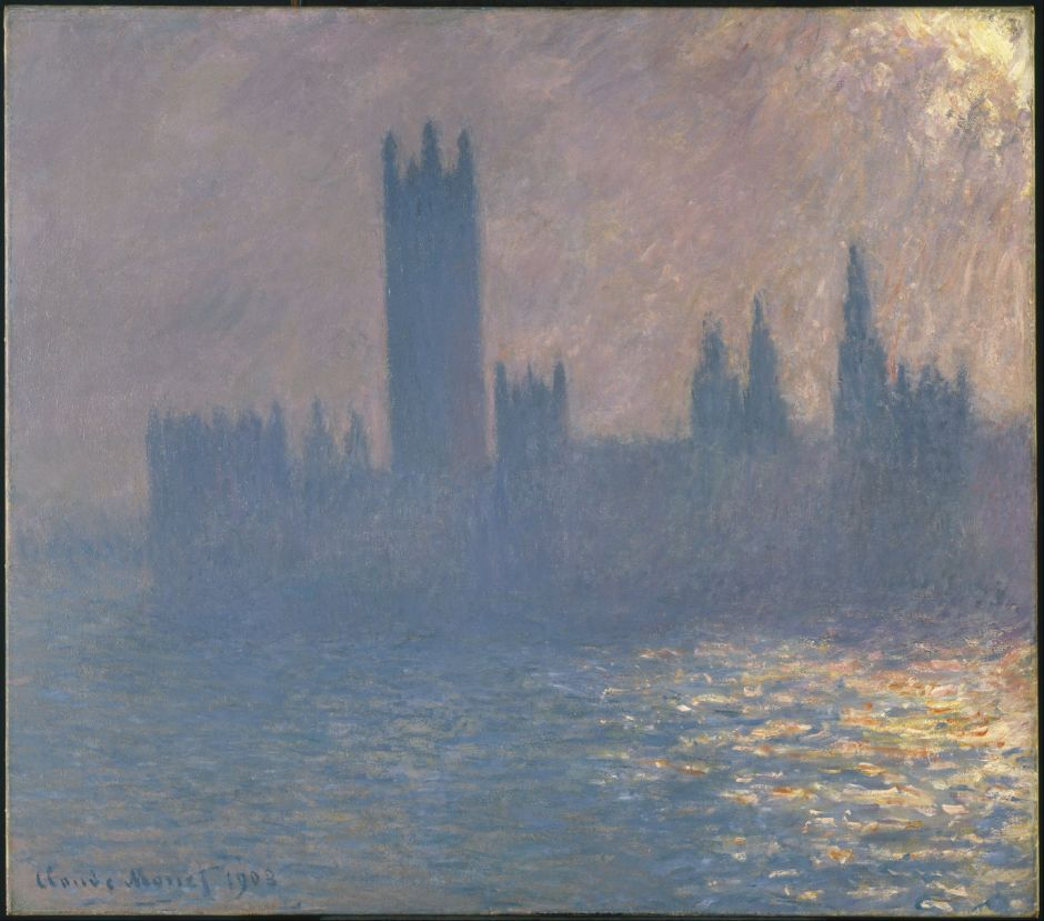 Claude Monet (1840–1926), The Houses of Parliament, Sunlight Effect (1903), oil on canvas, 81.3 × 92.1 cm, Brooklyn Museum, New York, NY. Wikimedia Commons.