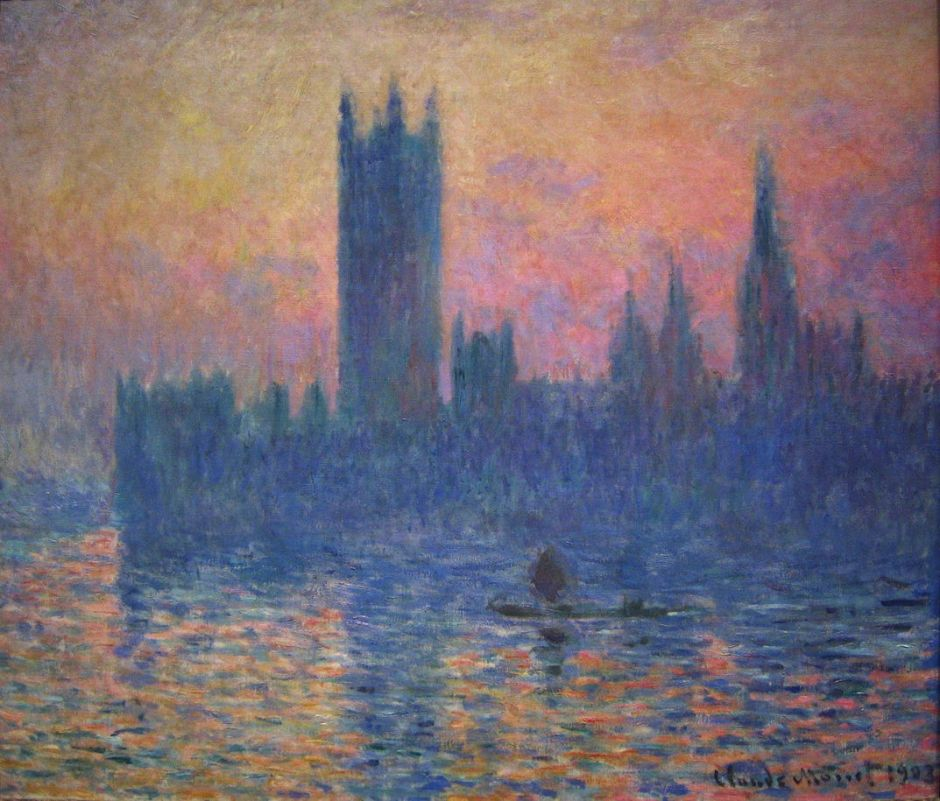 Claude Monet (1840–1926), The Houses of Parliament, Sunset (1903), oil on canvas, 81.3 × 92.5 cm, The National Gallery of Art, Washington, DC. Wikimedia Commons.