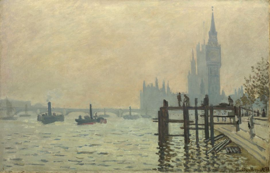 Claude Monet (1840–1926), The Thames below Westminster (1871), oil on canvas, 47 x 73 cm, The National Gallery, London. Wikimedia Commons.