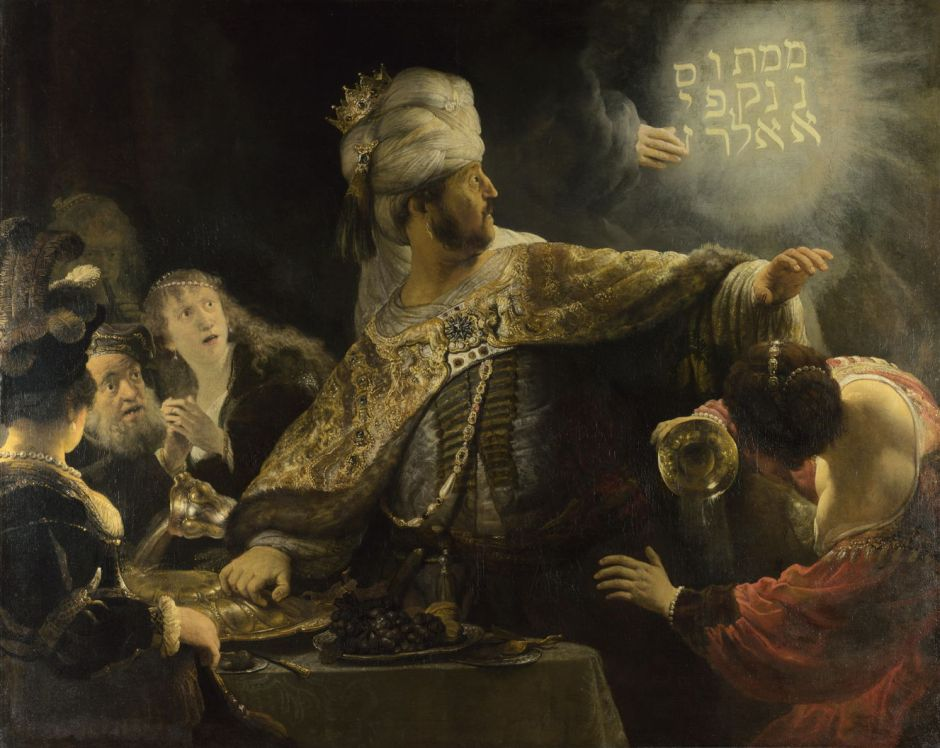 Rembrandt Harmenszoon van Rijn (1606-69), Belshazzar's Feast (c 1635-8), oil on canvas, 167.6 x 209.2 cm, The National Gallery, London. Courtesy of the National Gallery, via Wikimedia Commons.