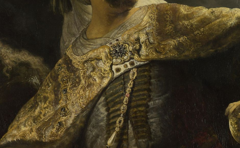 Rembrandt Harmenszoon van Rijn (1606-69), Belshazzar's Feast (detail) (c 1635-8), oil on canvas, 167.6 x 209.2 cm, The National Gallery, London. Courtesy of the National Gallery, via Wikimedia Commons.
