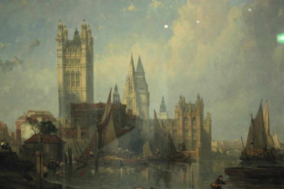 David Roberts (1796-1864), The Houses of Parliament from Millbank (1861), oil on canvas, 61 x 106 cm, The Museum of London, London. By Stephencdickson, via Wikimedia Commons. (Apologies for the reflections on this image, but they were present in the original photo.)