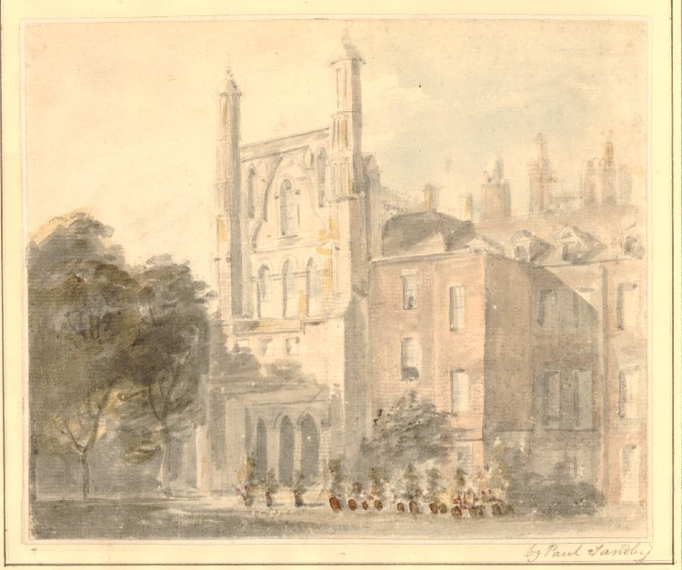 Paul Sandby (1730/1-1809), View of the south end of the old House of Commons (1794), watercolour, 17.5 x 21.1 cm, The British Museum, London. Courtesy of the British Museum, via Wikimedia Commons.