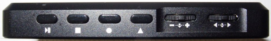 Controls seen on the top edge of the Sark-110 case.