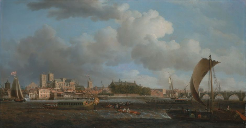 Samuel Scott (1702–1772), Westminster from Lambeth, with the Ceremonial Barge of the Ironmongers' Company (c 1745), oil on canvas, 79.4 x 150.5 cm, Yale Center for British Art, New Haven, CT. Wikimedia Commons.