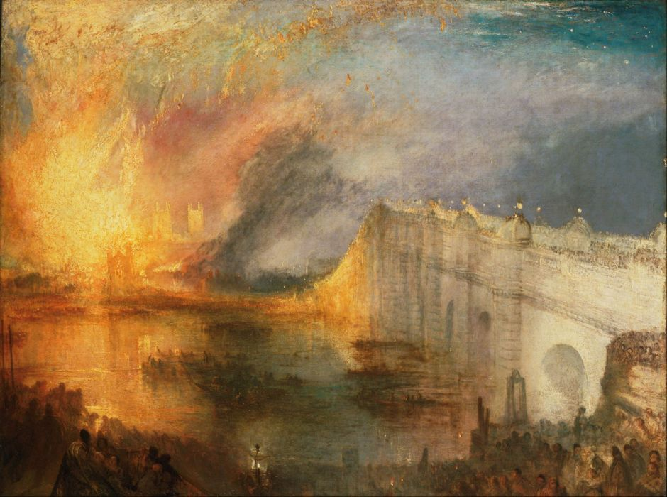 JMW Turner (1775–1851), The Burning of the Houses of Lords and Commons, 16th October, 1834 (1834-5), oil on canvas, 92.1 x 123.2 cm, Philadelphia Museum of Art, Philadelphia, PA. Wikimedia Commons.
