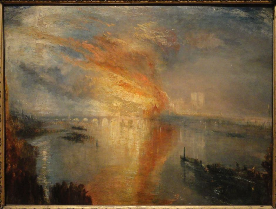 JMW Turner (1775–1851), The Burning of the Houses of Lords and Commons, 16th October, 1834 (1834-5), oil on canvas, 92 x 123.2 cm, Cleveland Museum of Art, Cleveland, OH. Wikimedia Commons.